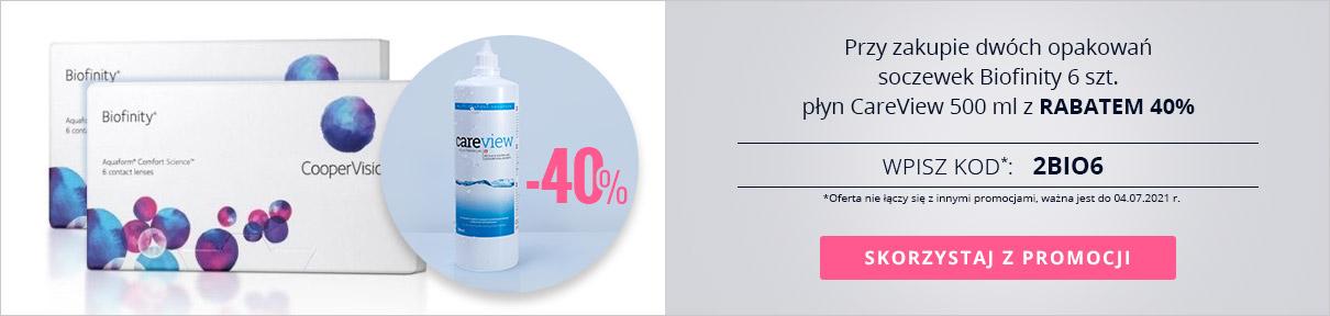 Przy zakupie dwóch opakowań soczewek Biofinity 6 szt. płyn CareView 500 ml z rabatem 40%